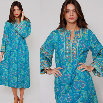 Vintage 70s TURQUOISE Blue Caftan RAMONA RULL Floral Boho Dress with Mirror Appliques Small