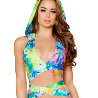 Rainbow Tie Dye Wrap Around Halter Top with Detachable Hood