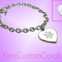 Custom Girls or Ladies Engraved Medical ID Bracelet With Heart Charm - Personalized for any Condition