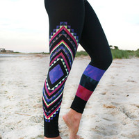 LEGGING - 'AKASHA'  tribal- aztec Style Legging for SURF,  Yoga, Running, Biking