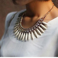 Crystal Pendant Chain Choker Chunky Statement Bib Necklace