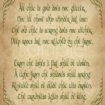 Riddle of Strider Print - 11x14 - Not All Who Wander Are Lost Lord of the Rings Poster