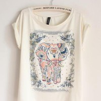 Cute Elephants Print Shirt with Flora Details C-5