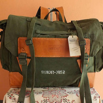 Recycling Military Canvas Rucksack Backpack Bag