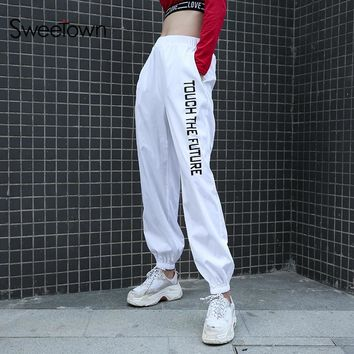 Sweetown Plus Size Pantalon Large Femme White Harajuku Harem Pants Street Style Printed High Waist Cargo Pants Women Sweatpants