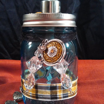Dispenser, soap/lotion, in a mason jar,blue tint, pint size, decorated with yellow plaid ribbon and bling