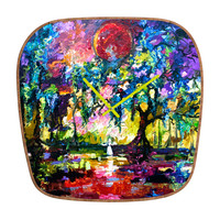 Ginette Fine Art Crimson Moon In Savannah Modern Clock