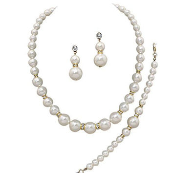 Oversize Statement Cream Pearl Bridal Necklace Set Prom Earring Set Y1