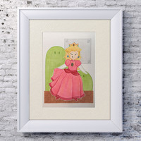 "5x7"" Princess Peach Illustration, Super Mario Bros Art, Nintendo Peach, Copic Illustration, Mario Bros Gift, Kawaii Gift for Geek, NES Gift"