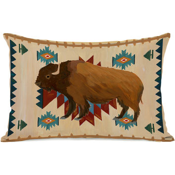 """Bison Aztec"" Indoor Throw Pillow by April Heather Art, 14""x20"""
