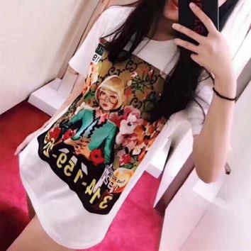 """Gucci Ignasi Monreal"" Personality Oil Painting Portrait Print Women Casual Short Sleeve T-shirt Top Tee"