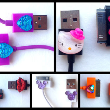 SALE! 10% OFF! iPhone4 3 feet 30-Pin USB Cable Cord Charger iPad iPod iPhone 4 Hello Kitty Mickey Mouse Hearts Bows Red Lips