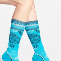 Women's SmartWool 'PhD - Light' Pattern Ski Socks, Size Medium - Blue