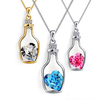 Women's Crystal Love Heart Drift Bottle Pendant Necklace