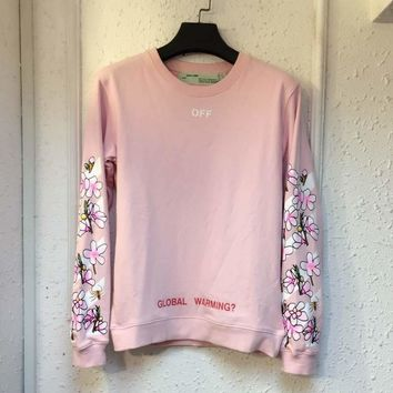 Round-neck Winter Print Pink Cotton High Quality Hoodies [11182507207]