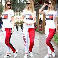 """Tommy Jeans"" Fashion Casual Multicolor Pattern Letter Print Short Sleeve Set Two-Piece Sportswear"