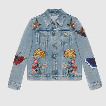 """Gucci"" Women Casual Fashion Flowers Butterfly Letter Embroidery Cardigan Long Sleeve Denim Jacket Coat"