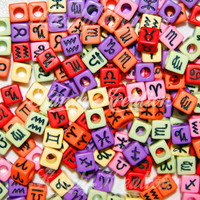 100 7mm ZODIAC pony beads Candy colored For astrology Horoscope Bracelets Kandi Raver Kandy Craft cubes square Loom Bands rainbow Signs Red