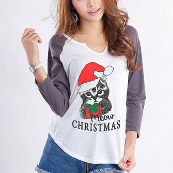 Cat T Shirt Sweatshirt Funny Meowy Christmas Ugly Sweater Women Teenager Girl Gifts Baseball Tees for Women Tumblr Hipster Instagram Blogger