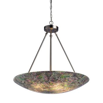 Avalon 5 Light Pendant Satin Nickel Hand Painted Crackled Glass