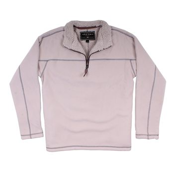 Bonded Polar Fleece & Sherpa Lined 1/4 Zip Pullover with Pockets in Ivory by True Grit