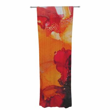 "Carol Schiff ""Orange Crush"" Orange Green Abstract Floral Painting Watercolor Decorative Sheer Curtain"