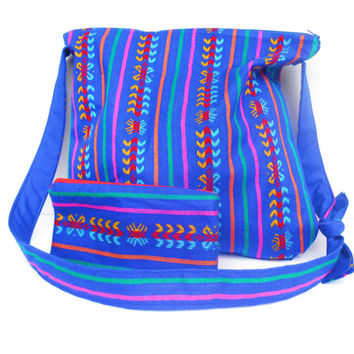 Large Purse, Royal Blue Mexican Fabric, Multi-Color Tribal Pattern, Shoulder Bag, Cross Body Bag, Small Matching Zippered Pouch
