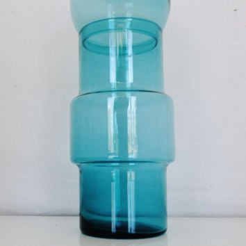 Large Blue Apothecary Jar with Bubble Top Blue Glass Apothecary Jar Vintage Blue Glass Canister Kitchen Storage Unique Shape