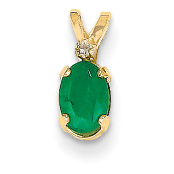 14k Diamond & Emerald Birthstone Pendant XBE160