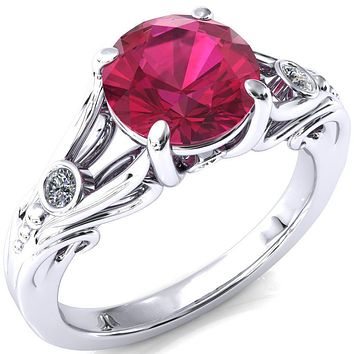 Aerolynn Round Ruby 4 Prong Diamond Accent Engagement Ring