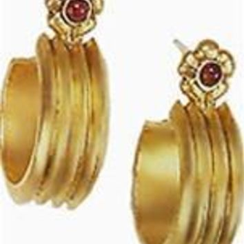 Egyptian Rib Hoop Earrings with Garnets - 7283