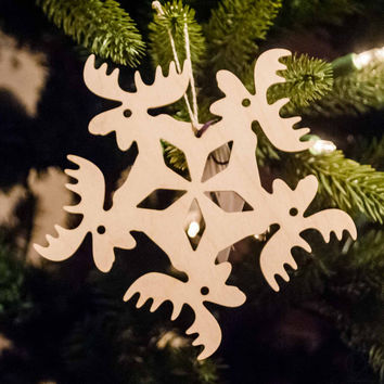 Wooden Snowflake Ornament Moose