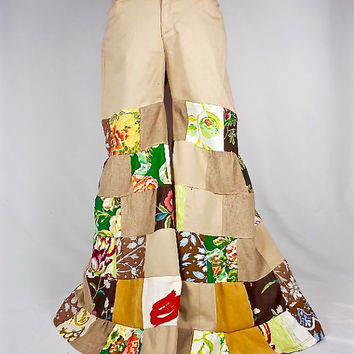 Patchwork Pants, Upcycled Clothing, Boho Clothing, Festival Pants, Flare Pants, Gypsy Clothes, Hippie Clothes, Bloomers, Hippie Pants, Khaki