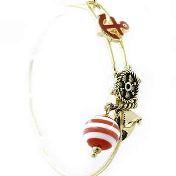 Red Nautical Message Charm Metal Wire Bangle Bracelet