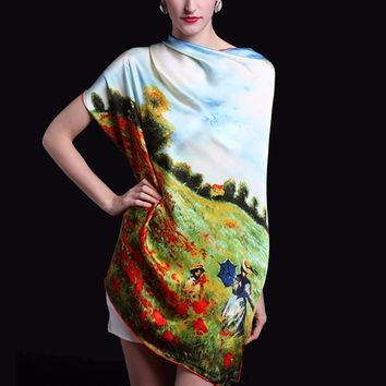 """Oversized Claude Monet """"Poppy Field in Argenteuil"""" Painting Silk Shawl Scarf"""
