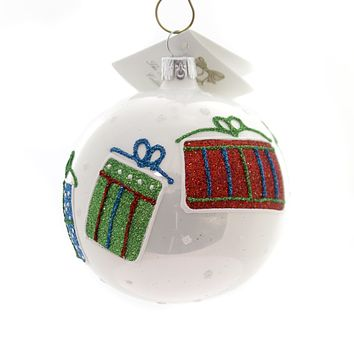 Golden Bell Collection Ball With Glittered Gifts Glass Ornament