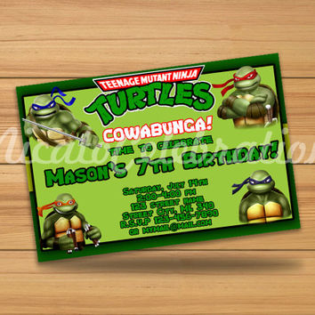 TMNT Teenage Mutant Ninja Turtles Inspired Design Invitaion - Digital File