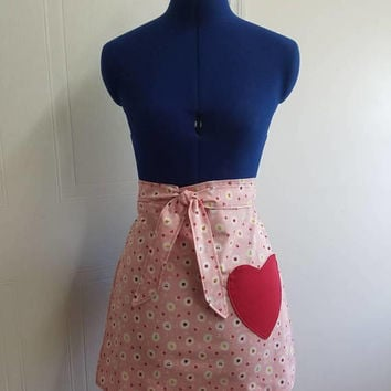 Diner - waitress - fruit - toss -  pinup - rockabilly - 50's - retro - vintage - style - half - apron - with - heart - pocket