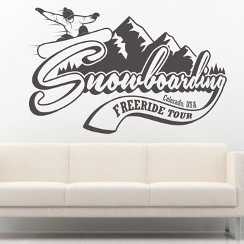 I177 Wall Decal Vinyl Sticker Art Decor Design US snowboard mountains colorado extreme winter sport board room interior sign