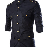 Multi-Pocket Epaulet Design Button Down Shirt