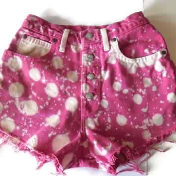 Vintage Upcycled High Waisted Bleached Pink Polka Dots Strawberry Jean Shorts 80s 90s Small Medium Frayed Cut  #6
