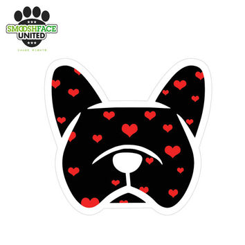 French bulldog (Frenchie) car vinyl decal stickers - hearts pattern or other options - #frenchielove