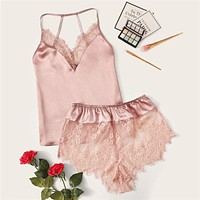Lace Trim Satin Cami Top and Shorts Pj Set Set Pink Sexy Wireless Lingerie Sets Satin Women Sleepwear