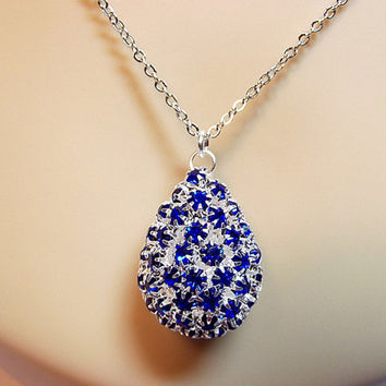 Blue Teardrop Crystal Statement Necklace, Christmas Gift, Mom Sister Grandmother Jewelry Gift, Rhinestone, Pretty, Girlfriend, Long Necklace