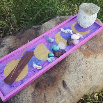 Crystal/Meditation Altar, Wooden Tray, Moon Phases Decorative Tray, Altar, Boho Decor