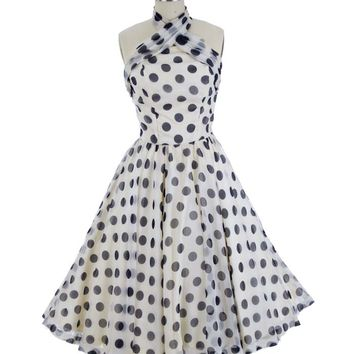 1950s Ivory Navy Polka Dot Chiffon Halter Style Party Dress-S