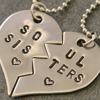 Soul Sisters Hand Stamped Necklaces - Best Friend Jewelry - BFF Jewelry - Best Bitches - Stainless Steel - Best Friend Gift