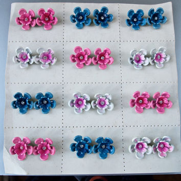 Vintage Clip-on Earrings Spray Paint Flower Power found on Original Card Czech Painted Metal and Rhinestones