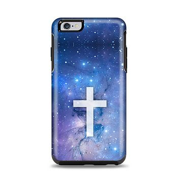 The Vector White Cross v2 over Space Nebula Apple iPhone 6 Plus Otterbox Symmetry Case Skin Set
