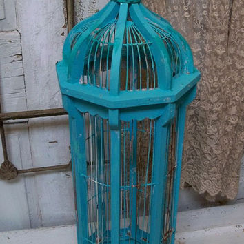 Large birdcage tall caribbean blue mix distressed wood and wire shabby chic home decor Anita Spero